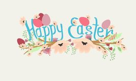 Vector Illustration with `Happy Easter` phrase, spring flowers and eggs stock illustration
