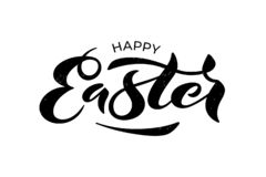 Vector illustration of Happy Easter text for greeting card, invitation, poster. Hand drawn lettering for Pascha holiday. royalty free illustration