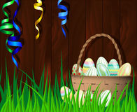 Vector illustration of a happy Easter. Vector illustration of a happy Easter on wooden background Royalty Free Stock Photo