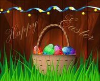 Vector illustration of a happy Easter. Vector illustration of a happy Easter on wooden background Stock Photos