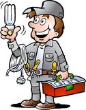 Vector illustration of an happy Electrician Handyman. Hand-drawn Vector illustration of an happy Electrician Handyman, holding a energysaving light bulb Royalty Free Stock Photo