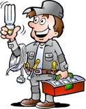 Vector illustration of an happy Electrician Handyman. Hand-drawn Vector illustration of an happy Electrician Handyman, holding a energysaving light bulb vector illustration