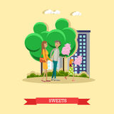 Vector illustration of happy family with cotton candy, flat style Stock Photos