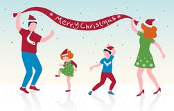 Vector illustration of happy family dancing, parents and their children celebrate Christmas,flat design royalty free illustration