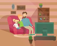 Vector illustration of happy family evening. Mother, father and kid watching television sitting on the couch at home royalty free illustration