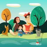 Happy family fishing vector illustration. Vector illustration of happy family fishing on river bank. Father and mother with kid and dog pet taking rest together Stock Images