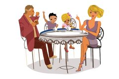 Vector illustration of happy Family of four. Father and mother with their little chidren at the table. Vector illustration of happy Family royalty free illustration