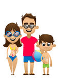 A vector illustration of a happy family going to the beach for Royalty Free Stock Photography