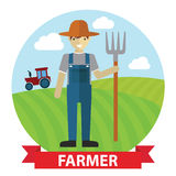 Vector illustration of an happy Farmer standing with his digging fork on field Stock Photo