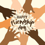 Vector illustration of happy friendship day felicitation in flat simple style with lettering text sign and open palms Royalty Free Stock Photo