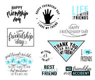 Vector illustration of Happy Friendship day typography design. Inspirational motto quote about friend. Used as greeting Stock Photos