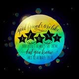 Vector illustration of Happy Friendship day typography fashion design on black background with rough color dots, stars Stock Image