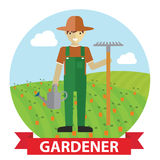 Vector illustration of an happy Gardener standing with his garden tool on field Royalty Free Stock Images