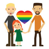 Vector Illustration of Happy Gay Couple with a child. Isolated on white background. royalty free stock image
