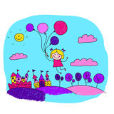 Vector illustration of happy girl with balloons. Stock Image
