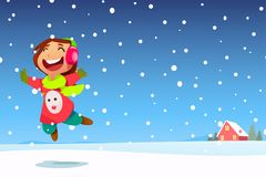 Happy Girl Jumping in the Snow. A vector illustration of Happy Girl Jumping in the Snow with Copyspace vector illustration