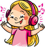 Vector illustration with a happy girl listening music Stock Photography