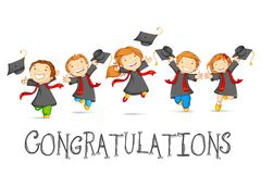 Happy Graduates. Vector illustration of happy graduates with mortarboard Royalty Free Stock Image