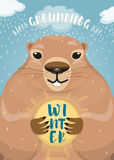 Vector illustration of happy groundhog day design with cute rodent Stock Images