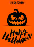Vector illustration of happy halloween greeting card with scary pumpkin silhouette Stock Photo