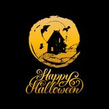 Vector illustration with Happy Halloween lettering. All Saints Eve background. Festive symbols for greeting card, poster Royalty Free Stock Photo