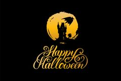 Vector illustration with Happy Halloween lettering. All Saints Eve background. Festive symbols for greeting card, poster Stock Photos