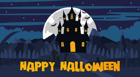 Happy Halloween landscape. Vector illustration of Happy Halloween night background Royalty Free Stock Images