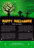 Happy Halloween on dark green background. Vector illustration of Happy Halloween night brochure background Stock Photos