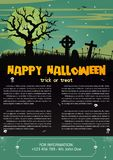 Happy Halloween on dark green background. Vector illustration of Happy Halloween night brochure background Royalty Free Stock Photo
