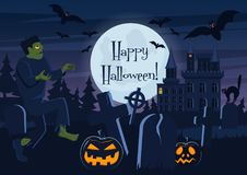 Vector illustration of Happy Halloween postcard and graveyard with zombie, pumpkin creatures and decorations. Stock Image