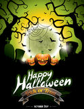 Vector illustration on a Happy Halloween theme Royalty Free Stock Image