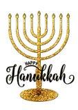 Vector illustration of happy Hanukkah gold greeting card Stock Photo