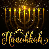 Vector illustration of happy Hanukkah gold greeting card Stock Images
