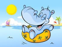 Vector illustration of happy hippo swim in sea Royalty Free Stock Photo