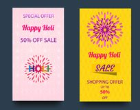 Vector illustration of a happy holi festival of colors banner with an inscription text announcement about a holiday sale.  Stock Photo