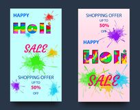 Vector illustration of a happy holi festival colors banner sale with text sign text in light of a square shaped frame. Colorful explosion with grunge rays Stock Image