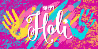 Vector illustration of happy holi festival of colors greeting horizontal banner Stock Photos