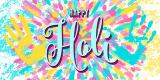 Vector illustration of happy holi festival of colors greeting horizontal banner Stock Photo