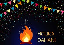 Vector Illustration for Happy Holi India holiday celebration. Fire, flags and the text Holika Dahan. Greeting card. Vector Illustration for Happy Holi India Royalty Free Stock Photo