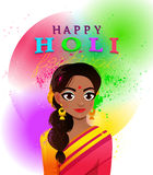 Vector illustration of Happy Holi traditional indian festival. Royalty Free Stock Photography
