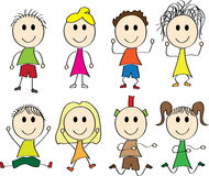 Vector illustration of happy kids Stock Image