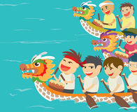 Vector illustration of happy kids in a boat race Royalty Free Stock Photography