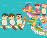 Vector illustration of happy kids in a boat race Stock Photo