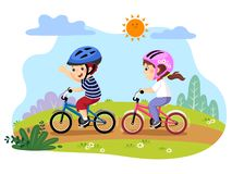 Happy kids riding bicycles in the park stock illustration