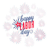 Vector illustration of Happy Labor day USA. Text sign with american flag color, fireworks and lettering in simple style. Labor greeting card background Stock Photos