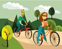 Vector illustration of family couple cycling. Vector illustration of happy man and woman riding bicycles. Family couple cycling together Royalty Free Stock Photography