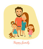 Vector illustration. Happy married couple with children. Cartoon characters. Royalty Free Stock Image