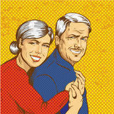 Vector illustration of happy mature couple in pop art style Royalty Free Stock Photography