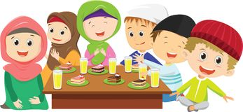 Happy Muslim boys and girls eating fasting dinner together. Vector illustration of happy Muslim boys and girls eating fasting dinner together isolated on white stock illustration