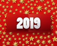 New year number with golden stars. Vector illustration of Happy New year 2019 background with golden stars confetti. Gold and red colors. Banner, poster Royalty Free Stock Photo